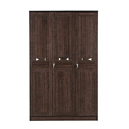HomeTown Bolton Engineered Wood Three Door Wardrobe in Wenge Colour
