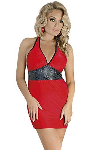 Blickdicht Dehnbar und Neckholder Minikleid Andalea Kleid Schwarz Dessous Rot Chemise Rot Damen schwarzes YwqZI