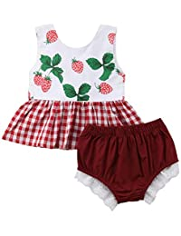 SUPEYA Toddler Girls Strawberry Print Dress Tops Briefs Shorts Outfits 2Pcs Set