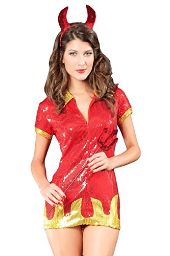 [Hot Devil Babe Sexy Halloween Costume Party Sequined Fancy Dress for Women] (Hot Halloween Costumes Devil)