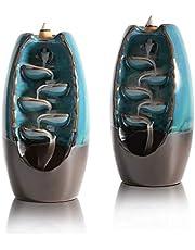 ComSaf Backflow Incense Burner, Ceramic Waterfall Incense Holder Pack of 2, Handmade Porcelain Censer Incense Cones Holder, Aromatherapy Ornament Gift for Home Decor Yoga Spa Meditation, Blue