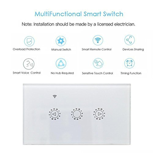 Switch Capacitive Hand Switch Wireless Remote Control Glass 3-gang Smart Home AU/US Crystal Waterproof Glass Touch Screen Light Switch&Mini Remote (White) by Liu Nian (Image #2)