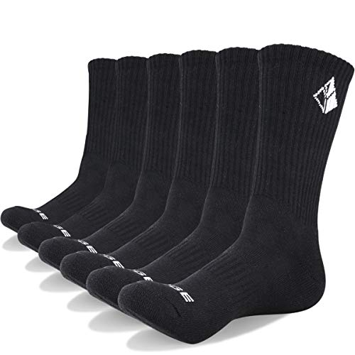 YUEDGE Men's Cotton Moisture Wicking Extra Heavy Cushion Sport Hiking Working Crew Casual Socks 6 Pair ()