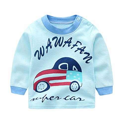 Toddler Baby Tops Cotton Cartoon Lovely Underwear Long Sleeve Autumn Unisex O-Neck T Shirt Clothes for $<!--$0.99-->