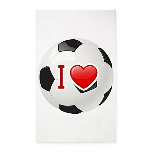3' x 5' Area Rug I Love Soccer Football Futbol by Royal Lion