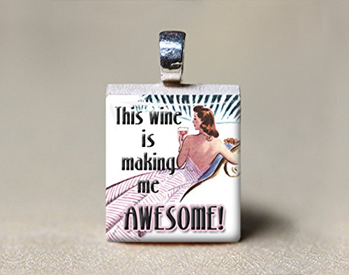 Amazon retro woman scrabble tile pendant this wine is making retro woman scrabble tile pendant this wine is making me awesome aloadofball Image collections