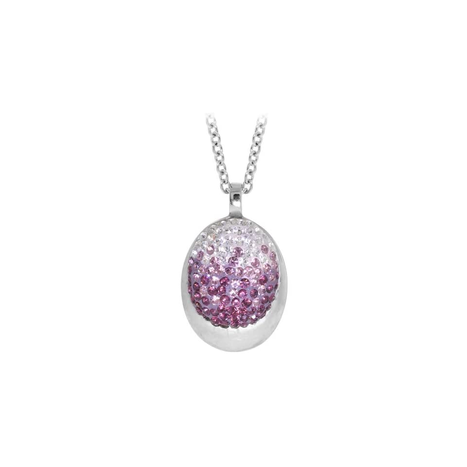 Inox Jewelry Womens Violet Sparkle Ellipse Pendant Necklace