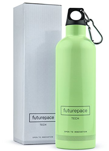 Futurepace Tech PASTEL GREEN, Reusable BEST STAINLESS STEEL VACUUM INSULATED WATER BOTTLE - 20oz/600ml - BPA FREE by FREE GIFT BOX - SO MANY USES! Hiking, Tennis, Wellness, Yoga (Vacuum 600 Bottle)