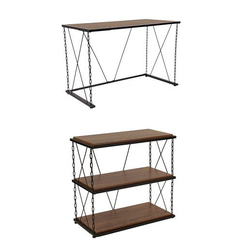 Flash Furniture Vernon Hills Collection Antique Wood Grain Finish Computer Desk and Two Shelf Bookshelf with Chain Accent Metal Frame