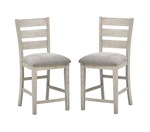Wood Bar Stool 40.5inH Pack of 2 Grey Decor Comfy Living Furniture Deluxe Premium Collection