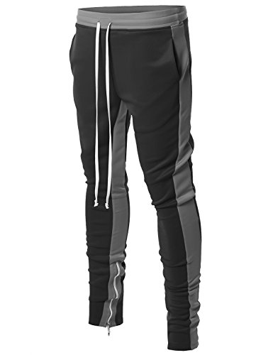 Style by William Dual Side Panel Over Length Drawstring Ankle Zipper Track Pants Black Grey - William By