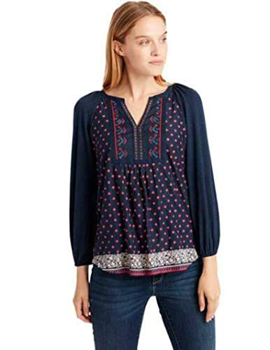 - Vintage America Ladies' Peasant Top (L, Navy)