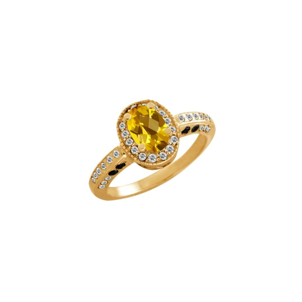 1.28 Ct Oval Checkerboard Yellow Citrine White Sapphire 18K Yellow Gold Ring