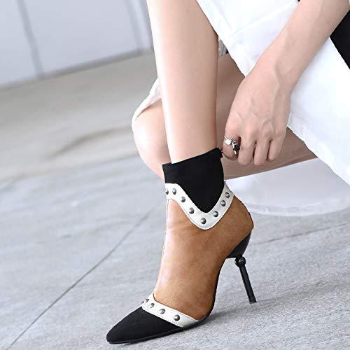 Olici Damen-Schuhe elegant für Arbeit und Freizeit Frühling und spitz Herbst 9 cm spitz und feine Farbe Nieten-Reißverschluss Kurze Röhrchen 904f37