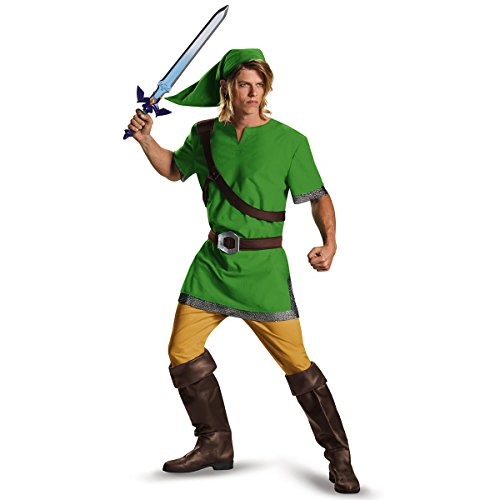 Link And Zelda Costumes (Legend Of Zelda Funny Adult Halloween Costume Men prime)