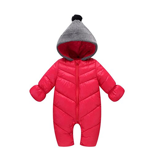 Baby Toddler Snow Suit - Genda 2Archer Unisex Baby Hooded Puffer Jacket Jumpsuit Winter Snowsuit Coat Romper(10-14M) Red