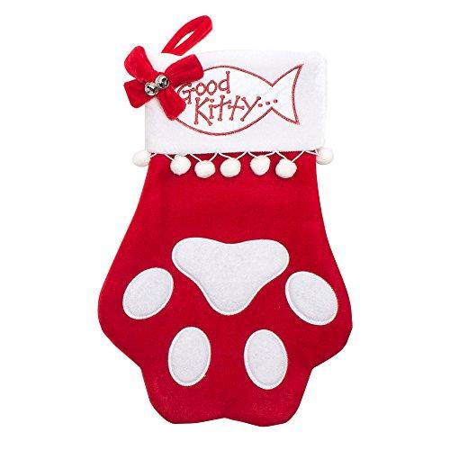Cat Christmas Stocking - Cat PAW - Good Kitty - large size 18