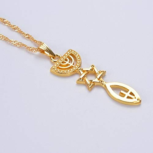 - Gimax Messianic Necklace The Holy Land Menorah Hexagram Israel Jewelry Mogen David Hanukiah Chanukkiyah Shamash Jewish - (Metal Color: Pure Gold Color)