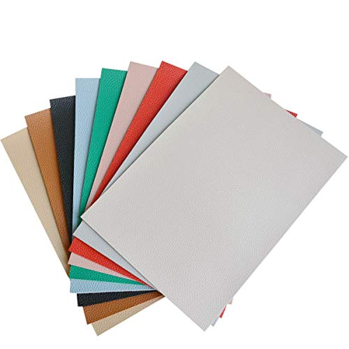 9 Pieces A4 Size Solid Color 1.6MM Thickness Litchi Grain Texture Synthetic Faux Leather Fabric Sheets Cotton Back for Making Hair Bows, Earrings, Placemats, 9 Color Each Color One Sheet