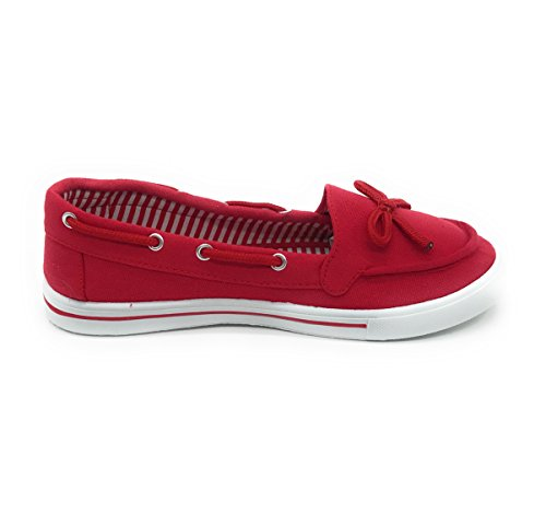 Shoe on Oxford Sneaker Flat Red Slip Toe Round Canvas Boat EASY21 Women wW80q7Xvnp