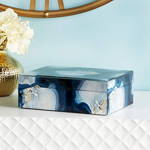 CosmoLiving by Cosmopolitan 35731 Large Rectangular Wood & Glass Blue Geode Jewelry Box | 9