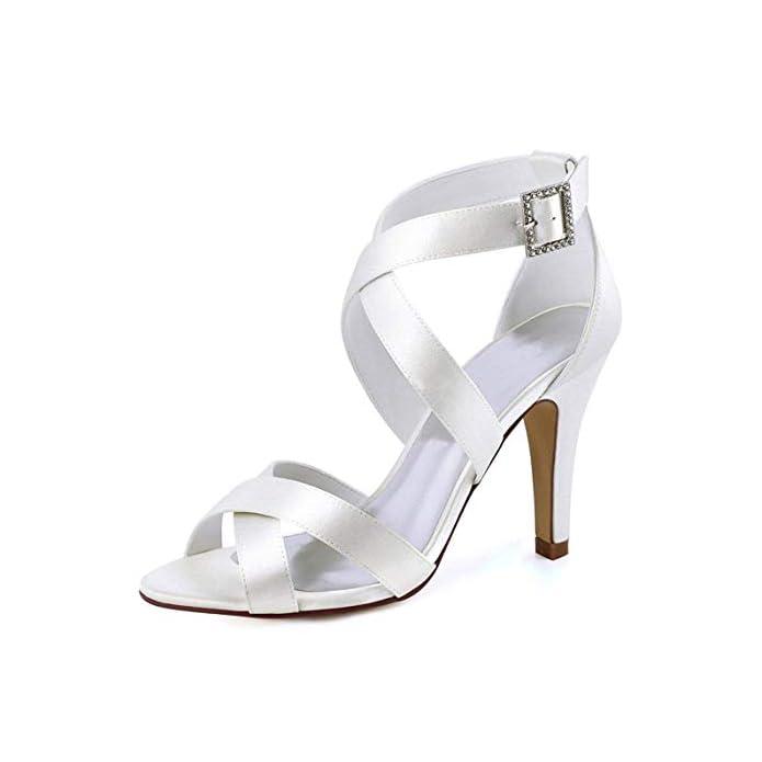 Fuxitoggo Sandali Da Donna Con Fibbia Alla Caviglia Avorio Satinato Sposa Moda Uk 7 colore - Dimensione -