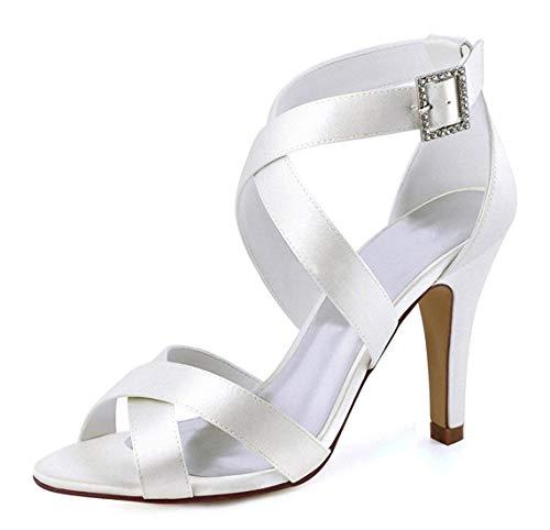 Willsego Donna Uk Moda Sposa colore Sandali Dimensione Alla Fibbia 6 Avorio Caviglia Satinato Da Con qaAwrUnCq