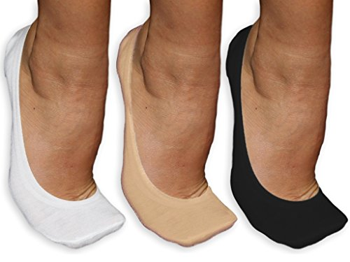 Silicone Grip No-Show Socks 3-Pack - Women's/Girls (White/Black/Nude) [Size 5-7] - Kids 3pk No Show Sock