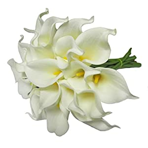 Calcifer@ 10 Pcs (One Set)15'' New Beautiful PU Mini Artificial Calla Lily Flowers Bouquet For Home Decoration/Wedding 58