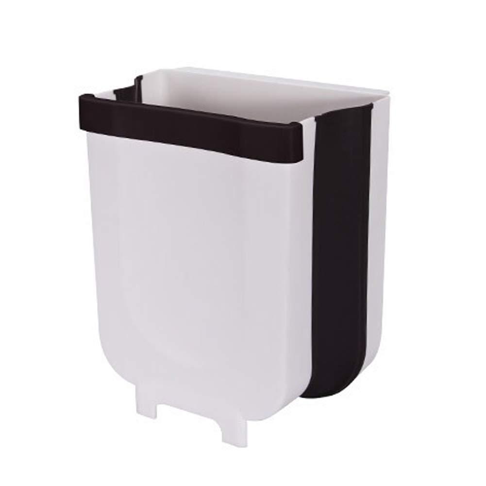 White//Brown Kitchen Trash Can for Bathroom Car Portable Plastic Grocery Dispenser Garbage Bag Hanging Waste Bin Under Kitchen Sink JIEHED Wall Mounted Folding Waste Bin