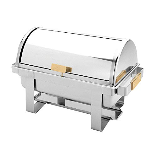 Stainless steel 8 quart roll top/golden handle chafer, comes in - Top Gold Chafer Accented Roll
