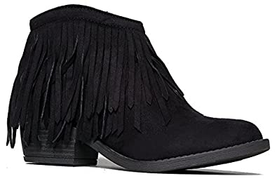 Amazon.com | Fringe Ankle Boot- Western Cowgirl Closed Toe Bootie ...