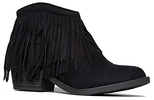 Marrow Fringe Ankle Boot, Black Suede, 8.5 B(M) US