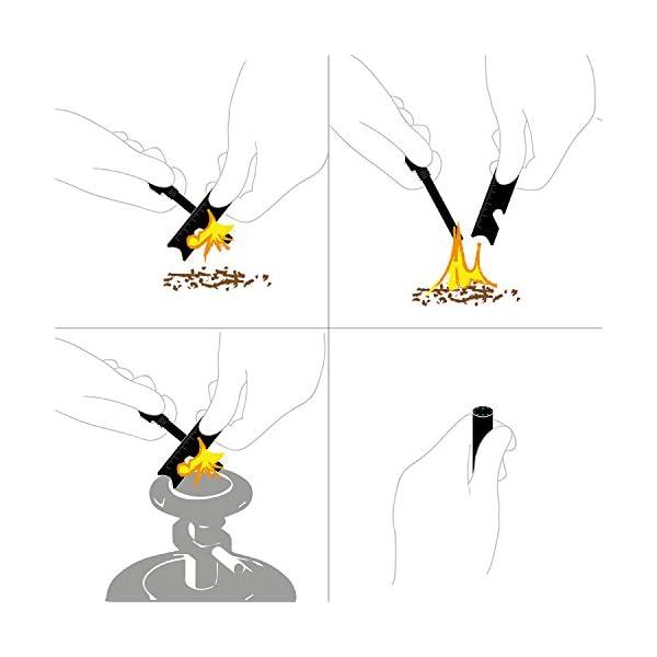 Everest Encendedor de magnesio en Negro, con brújula integrada - firesteel, sílex, Encendedor 2