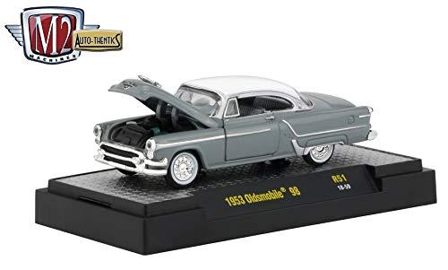 M2 Machines 1953 Oldsmobile 98 (Pearl Gray Metallic) Auto-Thentics Series Release 51 - Castline 2019 Premium Edition 1:64 Scale Die-Cast Vehicle & Custom Display Case (R51 18-59)