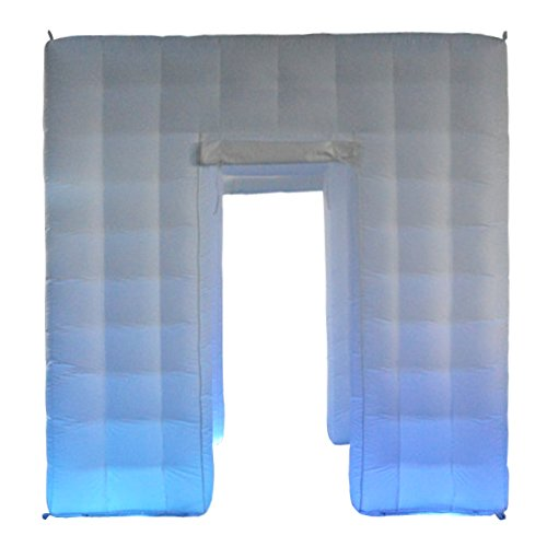 Inflatable Photo Booth Portable with 17 Colors LED Changing Lights and Inner Air Blower for Weddings Parties Promotions Advertising(2 Opposite Doors,8.2ftx8.2ftx8.2ft) by Sayok