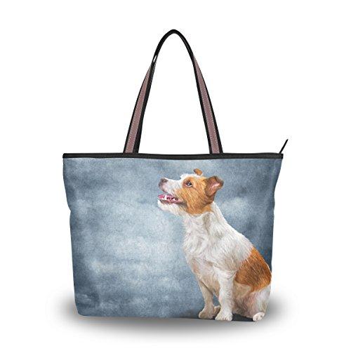 MyDaily Women Tote Shoulder Bag Jack Russell Terrier Dog Handbag Large
