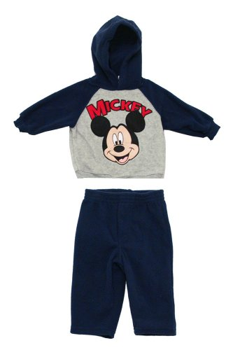 Mickey Mouse Disney Cartoon Baby Fleece Hoodie And Pants Two Piece Set