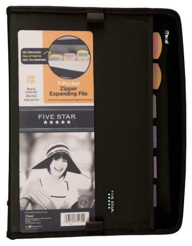 Five Star Expanding File, Customizable, 7-Pockets, 13.75 x 10.75 Inches, Black (72709)