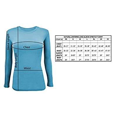 Natural Uniforms Women's Long Sleeve Underscrub Stretch T-Shirt Scrub Top at Women's Clothing store