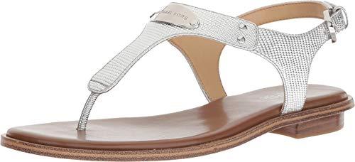 Michael Michael Kors MK Plate Flat Thong Sandals (6 M US, Silver Metallic)