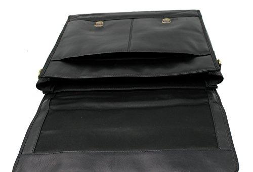 StarHide® Echtes Leder 14 Zoll Tasche Schwarz Umhängetasche Schultertasche Reisetasche Messenger Aktenkoffer Schultasche Mit Griff Auf Der Oberseite Und Verstellbarer Schulterriemen #525