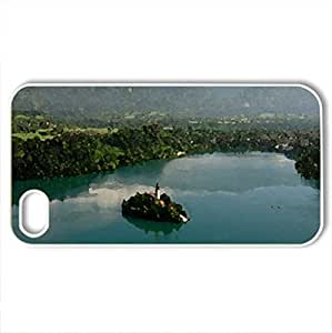Lake Bled, Slovenia - Case Cover for iPhone 4 and 4s (Lakes Series, Watercolor style, White)