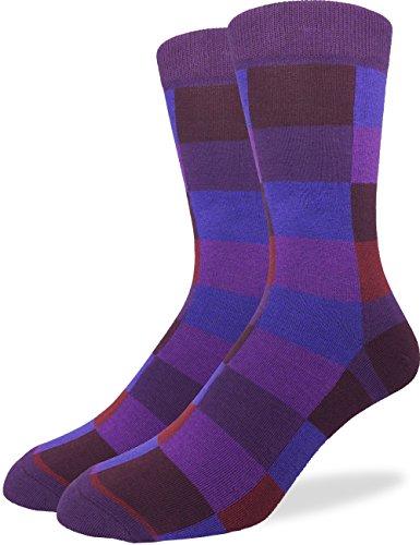 Good Luck Sock Men's Purple Checkered Crew Socks,Large (Shoe size ()