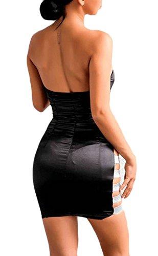 Les Femmes Cromoncent Gaine À Bandeau Évider Mini Manches Clubwear Sexy Robe Noire