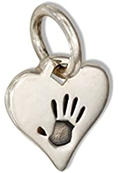 Sterling Silver Mini Heart with Hand Print Charm
