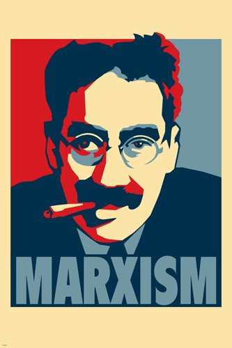 MARXISM poster 24X36 COMIC GROUCHO MARX W/CIGAR RED WHITE & BLUE funny rare HSE