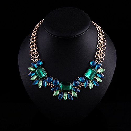 [SunIfSnow Women Big Green Gem Diamond Flower Clavicle Chain Necklace blue green] (Belly Dance Costumes Custom)