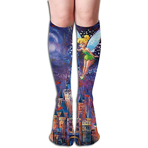 JINUNNU Knee High Tube Socks Tinkerbell Spreading Pixie Dust Funny Compression Socks for Girl Women ()