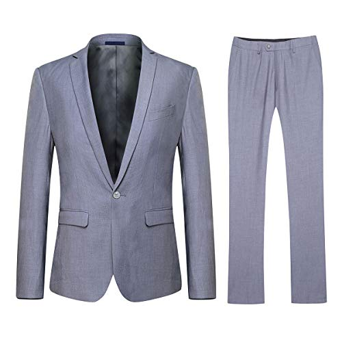 YFFUSHI Mens One Button Formal 2 Piece Suits Slim Fit Multi-Color Wedding Tuxedo Light Grey ()